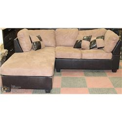 NEW 2 TONE MICROFIBRE AND LEATHERETTE SECTIONAL