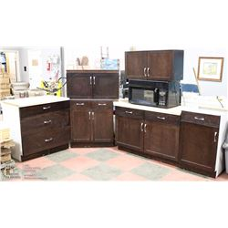 6PC CHOCOLATE COLOR KITCHEN CABINET SET INCL