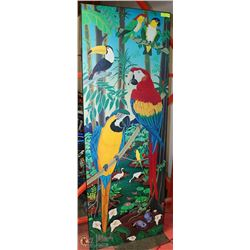 "72"" X 26 "" COLORFUL BIRDS WALL HANGING ON WOOD"