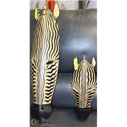 "2 ZEBRA WOOD WALL HANGINGS 16"" AND 30"""