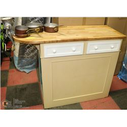 VINTAGE KITCHEN ISLAND W/ BUTCHER BLOCK TOP,
