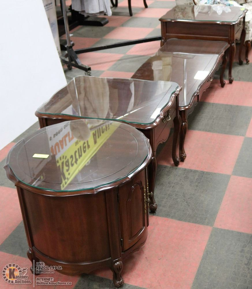 French Provincial Coffee Table Set: FRENCH PROVINCIAL 4 PC COFFEE TABLE SET WITH