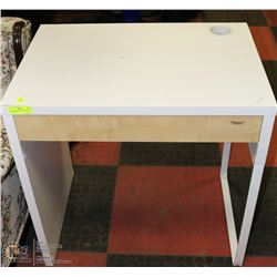 "WHITE METAL AND WOOD DESK 29""X20""X30""H"