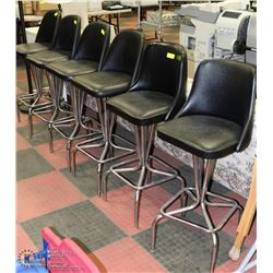 SET OF 6 CHROME AND VINYL BAR STOOLS