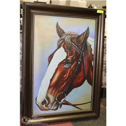 WOOD TONE FRAMED CANVAS HORSE PICTURE
