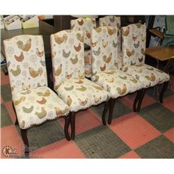 SET OF 6 VINTAGE CLOTH DINING ROOM CHAIRS