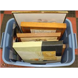TOTE FILLED WITH ESTATE PICTURES AND FRAMES