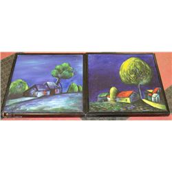 PAIR OF CANVAS PICTURES(DAMAGED FRAMES)