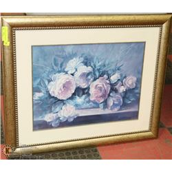 "FRAMED FLORAL PICTURE 29""X35"""