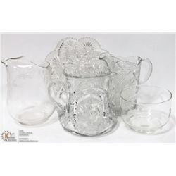 ESTATE BOX OF CUT GLASS TRAYS AND PITCHERS