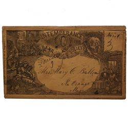 UNITED STATES 1853 TEMPERANCE COVER