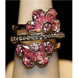 Beautiful Pink Sapphires Sterling Silver Ring. (784L)