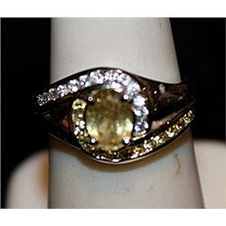 Fancy Citrine & White Topaz SS Ring. (571L)