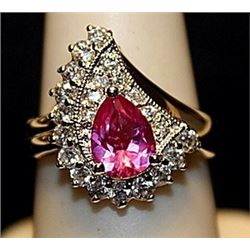 Gorgeous Ruby with White Sapphires SS Ring. (531L)
