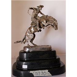 Bronco Buster - .999 Silver Sculpture - Old Cast Frederic Remington