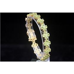 Fancy 14kt Gold over Silver Peridot Bracelet
