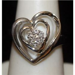 Lady's Fancy Silver Double Heart Ring with Diamonds (119I)