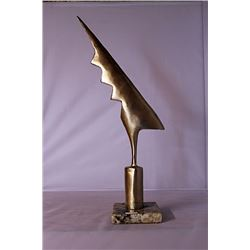 Thunder Bolt - Gold over Bronze Sculpture - after Constantin Brancusi