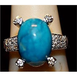 Beautiful Turquoise & White Sapphires SS Ring. (267L)