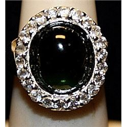 Beautiful Black Onyx & White Sapphires SS Ring. (258L)
