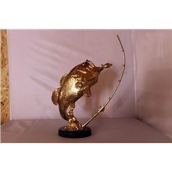 Bass Fishing - Gold over Bronze Sculpture after SPI