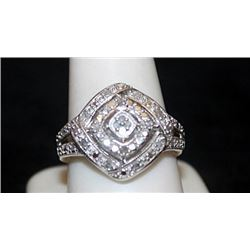 Lady's Fancy Silver Ring with Diamonds (84I)