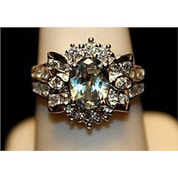 Beautiful Blue & White Topaz SS Ring. (727L)