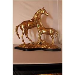 Stallion and Pony - Gold over Bronze Sculpture -  after SPI