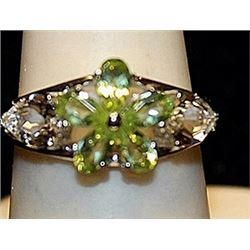 Beautiful Peridots & White Topaz SS Ring. (221L)