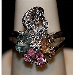 Gorgeous Multi Colored Sterling Silver Ring. (573L)