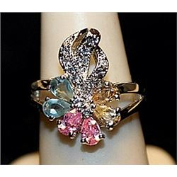 Gorgeous Multi Colored Sterling Silver Ring. (549L)