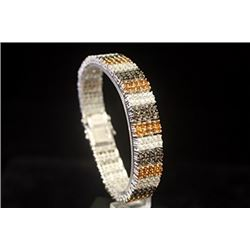 Beautiful Golden & White Sapphire Silver Bracelet