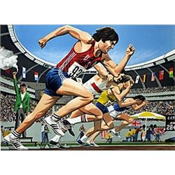 "Lithograph ""Brucer Jenner Decathlon""  William Nelson"