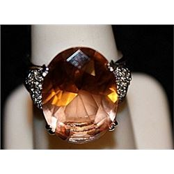 Fancy Lab Citrine & White Topaz SS Ring. (568L)