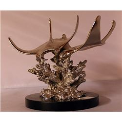 Sting Rays - Silver Sculpture with Marble Base