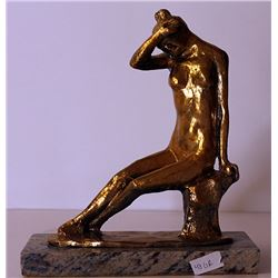 Shameful Nude - Gold over Bronze Sculpture -after Leo Mol