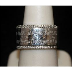 Fancy Silver I Love You Ring with Diamonds (131I)