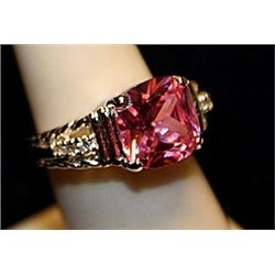 Beautiful Pink Sapphire & White Topaz SS Ring. (767L)