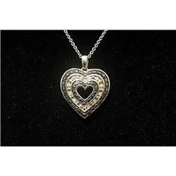 Gorgeous Double Sided Heart Black & White Diamonds Silver Necklace