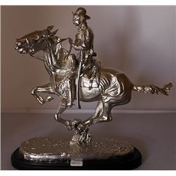 Trooper of the Plains - Silver over Bronze Sculpture - Old Cast Frederic Remington