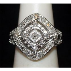 Lady's Fancy Silver Ring with Diamonds (79I)