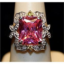 Beautiful Pink Lab Sapphire & White Topaz SS Ring. (551L)
