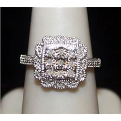 Very Fancy Silver Ring with Diamonds (105I)