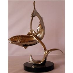 River Trout - Silver Sculpture with Marble Base