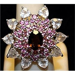 Beautiful Garnet, Pink Sapphires & White Topaz SS Ring. (217L)
