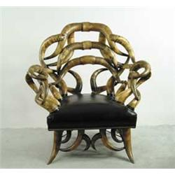 Outstanding Large American Steer Horn Armchair With Footstool