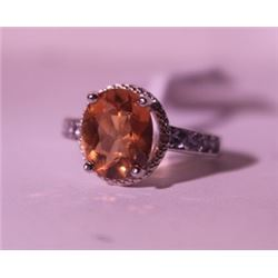 Exquisite Sterling Silver Ring with Lab Orange Sapphire and Diamonds