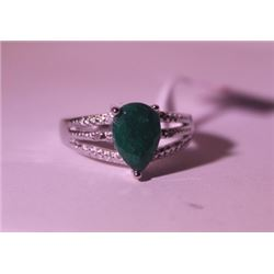 Exquisite Sterling Silver Ring with Pear Cut Columbian Emerald