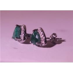 Exquisite Sterling Silver Earrings with Genuine Columbian Emerald