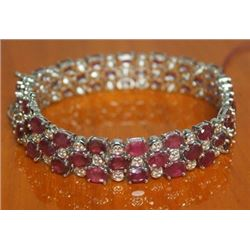 Beautiful Sterling Silver Bracelet with Ruby and Diamond